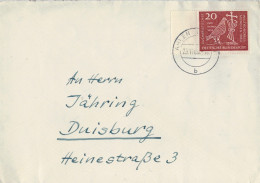 LETTERA  DA  ENNIGER        PER  DUISBURG    (VIAGGIATA) - Lettres & Documents
