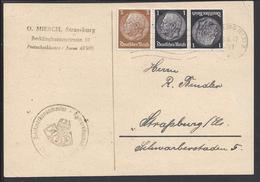 ALLEMAGNE -1942-TIMBRE MARECHAL HINDENBURG N° 483 A (tête-bêche) Et 484 SUR CARTE POSTALE POUR STRASSBURG (Els.)EN VILLE - Covers & Documents