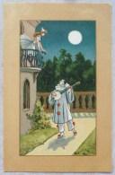 LITHO Art Nouveau Fond Beige ILLUSTRATEUR  Busi ? Hardy ?  Femme Fille Colombine Balcon Pierrot Serenade Lune Blanche - Hardy, Florence