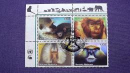 UNO-Wien 485/8 Oo/ESST, Gefährdete Arten: Äthiopische Grünmeerkatze, Nasenaffe, Mantelpavian, Husarenaffe - Wien - Internationales Zentrum