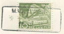 1507 - MAGGLINGEN 18.XI.55 - Aushilfstempel Auf Ansichtskarte - Marcophilie