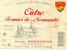 Etiquette Cidre Fermier De Normandie - Domaine Du Lieu Gosset - Michel BREAVOINE  Coudray-Rabut 14130 PONT L EVEQUE - Fruits & Vegetables