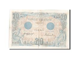 France, 20 Francs, 20 F 1905-1913 ''Bleu'', 1912, 1912-06-21, KM:68b, TTB+, F... - 1871-1952 Circulated During XXth