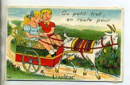 22 LOUDEAC Rare CARTE à SYSTEME Complete Dépliant 10 Vues Attelage De Chevre Voiture Au Petit Trot  1954 GABY  /D10-2016 - Loudéac