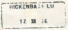 1508 - RICKENBACH LU 17.XII.56 - Aushilfstempel Auf Einschreiben - Marcophilie