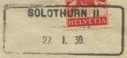 1510 - SOLOTHURN II 27.I.30 - Aushilfstempel Auf Briefumschlag - Marcophilie