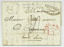 ARMEE D'ITALIE - Lettre De Soldat - 5e De Ligne - Gallet - Vicence Vicenza 1808 à Craponne - Storia Postale