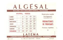 Buvard ALGESAL Baume Antirhumatismal Inodore Laboratoires De Thérapeutique Moderne à Paris Calendrier Avril 1955 - Droguerías