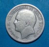 SERBIA 2 DINARA 1879, SILVER - Serbie
