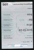 Ticket De Métro : Copenhague (Danemark) Fra Zone 004, Antal Zoner 03 - Subway