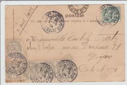 1904 - CP De BORDEAUX COURS SAINT JEAN Avec AFFRANCHISSEMENT BICOLORE TYPE BLANC - Storia Postale