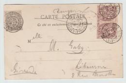 1903 - CP De BIARRITZ Avec AFFRANCHISSEMENT BICOLORE TYPE BLANC - Storia Postale