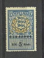 ESTLAND Estonia 1941 German Occupation Documentrary Tax Stempelmarke 5 RM MNH - Occupation 1938-45