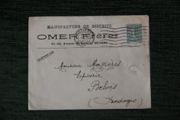 Enveloppe Timbrée  Publicitaire - BEZIERS, OMER Et Frères, Manufacture De Biscuits, 61 Et 63 Avenue De Belfort. - Francia