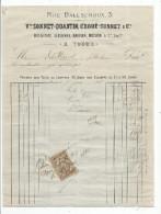 Facture  , Vve. Sonnet - Quantin , Croué - Sonnet & Cie à Tours , 1886 , Timbrée - 1800 – 1899