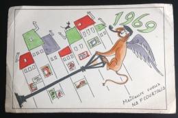 Buvard Illustré Meilleurs Voeux  Nouvelle Année 1969 Courtaud Homme Chien Ailé Pipe  Lampadaire - Blotters