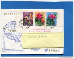 MARCOPHILIE- Lettre -TAIWAN->FRANCE--cad-1991 Afft Bloc De Fleurs