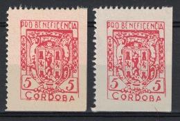 Guerra Civil War, Cordoba, 2 Types Of Pro Beneficencia, Coat Of Arms **, MNH - Verschlussmarken Bürgerkrieg