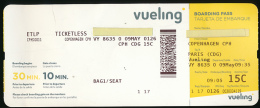 Titre De Transports, Boarding Pass, Tarjeta De Embarque : Copenhague - Roissy Charles De Gaulle, Compagnie VUELING - Europe