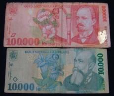 ROMANIA 10000 + 100000 LEI VF - VG - Roumanie