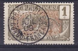 Moyen Congo 1907 Mi. 1    1 C. Leopard Deluxe BRAZZAVILLE 1909 Cancel !! - Französisch-Kongo (1891-1960)