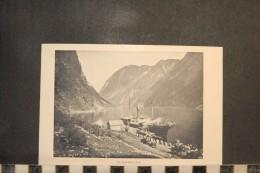 CP, Norvege,  GUDVANGEN Dos Simple Precurseur Embarcadere Bateau Transport - Noruega