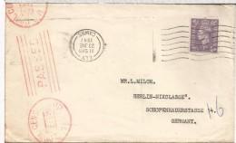 REINO UNIDO ELY CC 1947 A ALEMANIA OCUPADA CENSURA CIVIL USA DE BERLIN - Covers & Documents