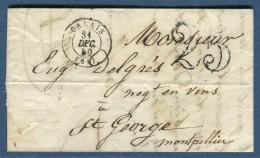 France - Lettre Avec Texte De Calais Pour Montpellier Le 31 Décembre 1850  à Voir 3 Scans   Réf. 904 - Marcophilie (Lettres)