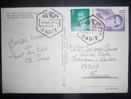 Espagne , Carte De Cadiz 1980 Pour Arles , Tres Joli Obliteration - 1931-Oggi: 2. Rep. - ... Juan Carlos I