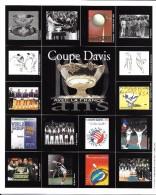 SPORT TENNIS CARTE VOEUX AN 2000  100 ANS DE COUPE DAVIS AVEC LA FRANCE CARTE DOUBLE - Tennis
