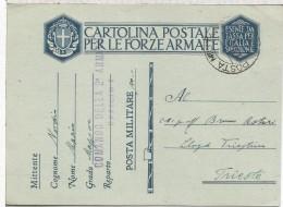 ITALIA SEGUNDA GUERRA MUNDIAL TARJETA A TRIESTE MAT POSTA MILITARE COMANDO DELLA 2ª ARMATA UFFICIO 1 - Posta Militare (PM)
