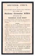 Souvenir Pieux, Germaine WERA (J. Binet), Décédée à Fize-Fontaine En 1933 - 2 Scans - Devotion Images
