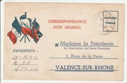 CPFM 1940 - Association Des Dames Françaises De Valence - Scans R-V - Franchise Militaire - Correspondance Armées - Tarjetas De Franquicia Militare