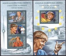 Centr.Afr.Rep. 2015 - MNH - Europe, Famous Persons, Merkel (Angela), Pope, Train / Railway - Celebrità