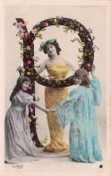 P - LETTRE DE L´ ALPHABET  - ART NOUVEAU 1900 - FEMME FILLETTES - étoile Paris - Photo  STEBBING - 2 Scans - Tarjetas De Fantasía