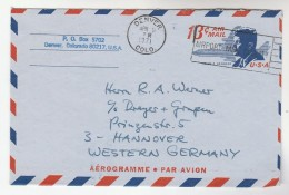 1971 USA AEROGRAMME SLOGAN Pmk DENVER AIRPORT MAIL FACILITY To Germany Aviation Kennedy Postal Stationery Stamp Cover - Airplanes