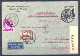 """1940 , PERÚ , CORREO CONSULAR CERTIFICADO DE LIMA A SANTIAGO DE CHILE , MARCA """" AMTLICH VERWERTET """" - Peru"""