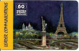 CARTE-PREPAYEE-60U-LEADER-COMMUNICATIONS-TISCALI-PARIS MONUMENTS-V°ORANGE Jaune-Logo Ténor Avec Code-31/12/2004-TBE - Autres Prépayées