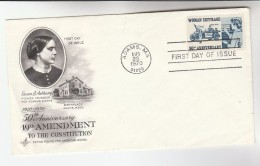 1970 Art Craft USA FDC Stamps VOTES FOR WOMEN Cover Pmk Adams Democracy - First Day Covers (FDCs)