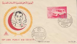 Enveloppe  FDC  1er  Jour   EGYPTE    Cinquantenaire  Du  SECOURS  D' URGENCE  1957 - Égypte