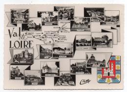 LE VAL DE LOIRE ET SES CHÄTEAUX--Multivues,blason ,cpsm 15 X 10 N° 23 C éd  Combier--cachet LA MEMBROLLE-37 - Centre-Val De Loire