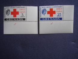 GRENADA 1963 INTERNATIONAL RED CROSS Centenary Issue Full TWO Values Set MNH. - Grenada (1974-...)
