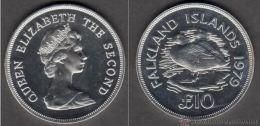 FALKLAND ISLANDS 1979 KM-11 ANIV S.M. ELIZABETH II QUEEN DUCKS  U.N.C.10 POUNDS SILVER - Falkland Islands