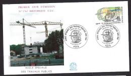 Env Fdc 5/10/91 Paris, N°2726, école Spéciale Des Travaux Publics, Grues De Chantier, 1991, - FDC