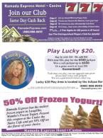 Ramada Express Casino Laughlin, NV - Paper Coupon Sheet - Advertising