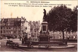 BESANCON STATUE DE JOUFFROY D'ABBANS ,BEAU PLAN ANIME ,TRAMWAY ,PEUT ETRE MARCHANDE DE LEGUMES  REF 46749 - Besancon