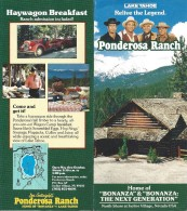 Ponderosa Ranch Brochure + 2 Tickets + Attractions & Trail Guide Sold In Park