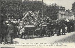 Rouen - Incendie De L'Usine Lille-Bonnières (Petit-Quevilly) - Funérailles Solennelles Des Quatre Pompiers - Un Char - Funérailles