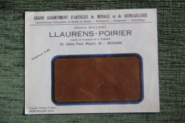 Enveloppe Publicitaire, BEZIERS,Etablissements LLAURENS POIRIER, Articles De Ménage, 39 Allées P.RIQUET