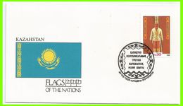 Kazakhstan 1992 1 FDC Drapeaux Statuette Soldat D'Or - Kazakhstan